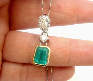 4.00ct Colombian Emerald & Diamond Pendant 18K Gold