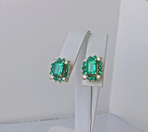 4.92ct Colombian Emerald Diamond Stud Earrings 18K Yellow Gold 100% Natural
