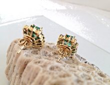 Load image into Gallery viewer, 4.92ct Colombian Emerald Diamond Stud Earrings 18K Yellow Gold 100% Natural