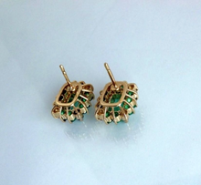 Load image into Gallery viewer, colombian emerald diamond earrings stus