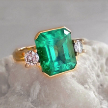 Load image into Gallery viewer, 7.35ct AAA Natural Colombian Emerald Diamond Ring 18K Yellow Gold