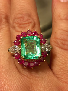 Certified Emerald Diamond & Ruby Cluster Cocktail Ring 18k