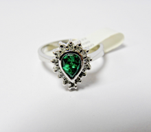 Load image into Gallery viewer, Colombian Emerald & Diamond Cocktail Ring 18K White Gold