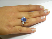 Load image into Gallery viewer, GRS Certified 9.75 Carats Blue Sapphire Diamond Ring 18K White Gold