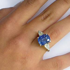 GRS Certified 9.75 Carats Blue Sapphire Diamond Ring 18K White Gold