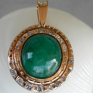 Natural Colombian Cabochon Emerald Diamonds Pendant 18K