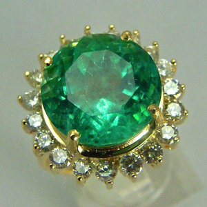 9.65 Carat Fine Natural Round Colombian Emerald Diamond Ring 18K