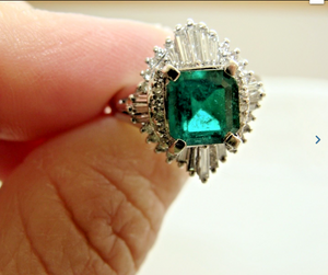 Magnificent 2.06ct Natural AAA+ Emerald & Diamond Platinum Engagement Ring