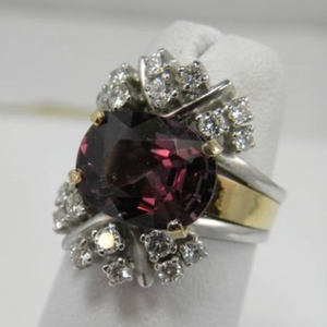 Antique Estate 6.18 Carats Orchid Spinel & Diamond Cocktail Ring 14K Gold