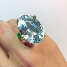 Load image into Gallery viewer, 57.40cts Aquamarine Emerald Vintage Cocktail Ring 14k Gold