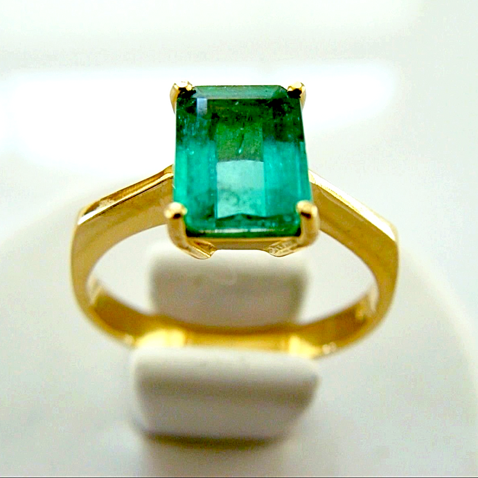 1.60ct Solitaire Ring Natural Colombian Emerald 18K Yellow Gold