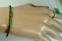 Load image into Gallery viewer, Natural Colombian Emeralds Bracelet 18K Gold
