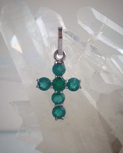 1.00ct Colombian Emeralds Cross Pendant 18k White Gold