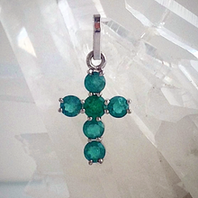 Load image into Gallery viewer, 1.00ct Colombian Emeralds Cross Pendant 18k White Gold