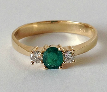 Load image into Gallery viewer, Natural AAA Round Cut Emerald & Diamond Engagement Ring 18K Gold