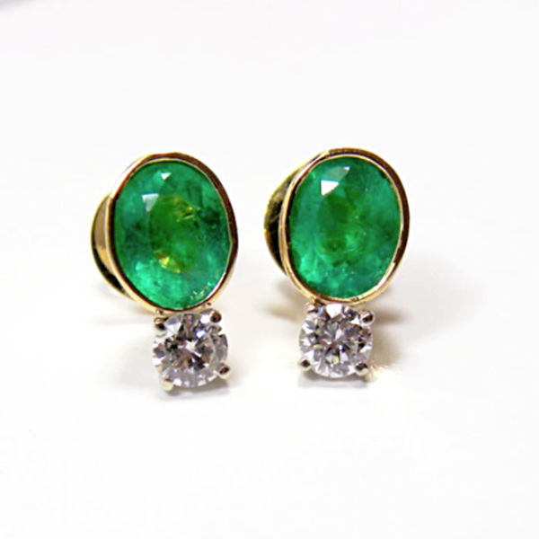 2.35 Carat Natural Colombian Emerald & Diamond Stud Earrings 18K