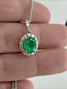 2.40ct Colombian Emerald Diamond Pendant Necklace 14K White Gold 18""