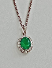 Load image into Gallery viewer, 2.40ct Colombian Emerald Diamond Pendant Necklace 14K White Gold 18""