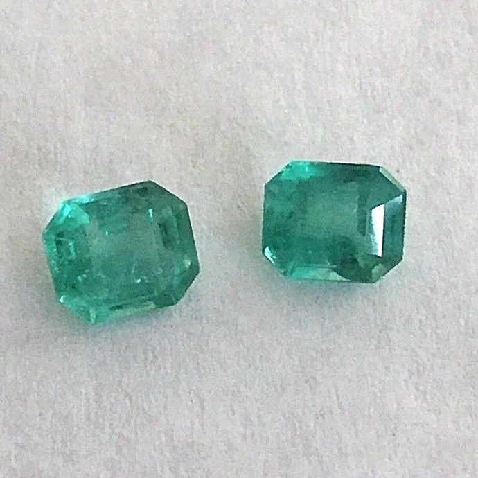 Loose 1.78ct Genuine Matching Pair Oval Natural Colombian Emerald