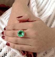 Load image into Gallery viewer, 7.73ct Certified Fine Natural Colombian Emerald Diamond 18K Ring