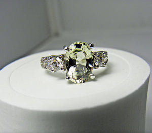 Certified Sapphire & Diamond Fine Engagement Ring 18k White Gold