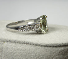 Load image into Gallery viewer, Certified Sapphire & Diamond Fine Engagement Ring 18k White Gold