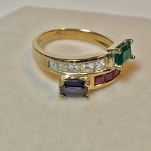 Load image into Gallery viewer, Estate Twin 3.0ct Vintage Diamond, Ruby Emerald & Sapphire Bypass Ring 18K