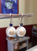 Load image into Gallery viewer, Natural 14mm South Sea Pearl Sapphire Drop Earrings 14K White Gold