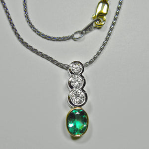 1.50ct  Estate Colombian Emerald Diamond Pendant Necklace Platinum & 18k