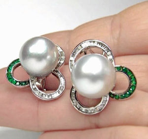 South Sea Pearl Diamond and Emerald Huggie Earrings 18K