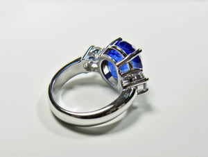 GIA Certified 11.0ct Cornflower Blue Sapphire Diamond Engagement Ring Untreated 18K White Gold