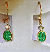 Load image into Gallery viewer, 2.60 Carat Natural Colombian Emerald Diamond Dangle Earrings 18K Gold