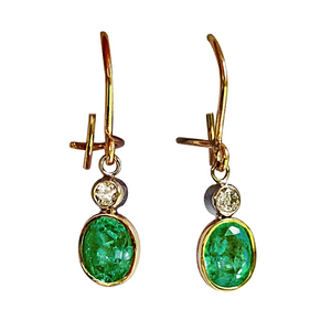 2.60 Carat Natural Colombian Emerald Diamond Dangle Earrings 18K Gold