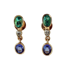 Load image into Gallery viewer, 4.55ct Colombian Emerald Tanzanite and Diamond Dangle Earrings 18K Gold