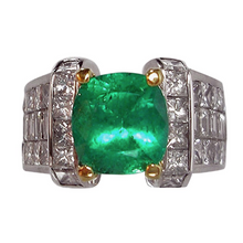 Load image into Gallery viewer, 7.56ct Fine Natural Colombian Emerald Diamond Ring Unisex 18K