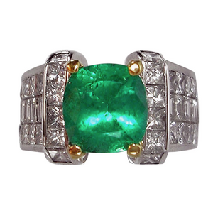 Estate 7.56ct Extra Fine Natural Colombian Emerald Diamond Ring 18K