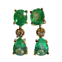 Load image into Gallery viewer, 3.56ct Natural Colombian Emerald Diamond Dangle Earrings 18k Gold