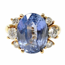 Load image into Gallery viewer, 10.80ct Blue Ceylon Sapphire Diamond Engagement Ring Certified No Heat /Untreated 18k Gold