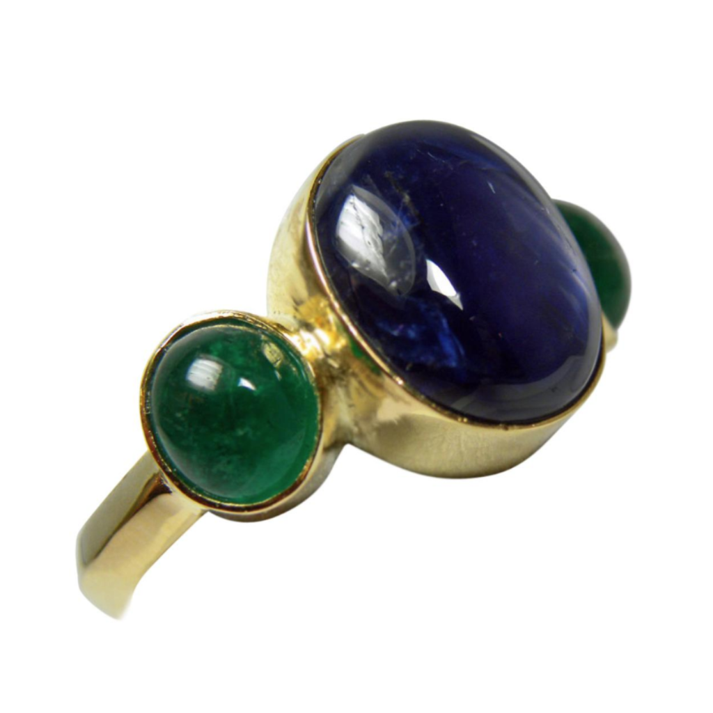 Estate  Natural Sapphire & Emerald Ring 18k Yellow Gold