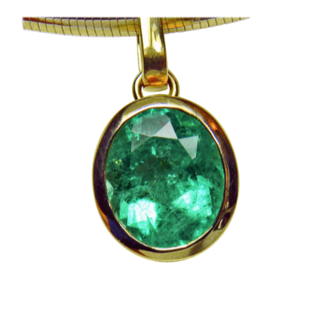 5.75ct Fine Colombian Natural Green Oval Emerald Solitaire Pendant 18K Gold