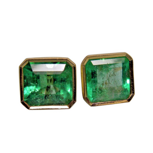 3.90ct AAA Natural Green Colombian Emerald Stud Earrings 18k Gold