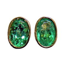 Load image into Gallery viewer, 2.50ct Natural Colombian Emerald Oval Stud Earrings 18k Gold