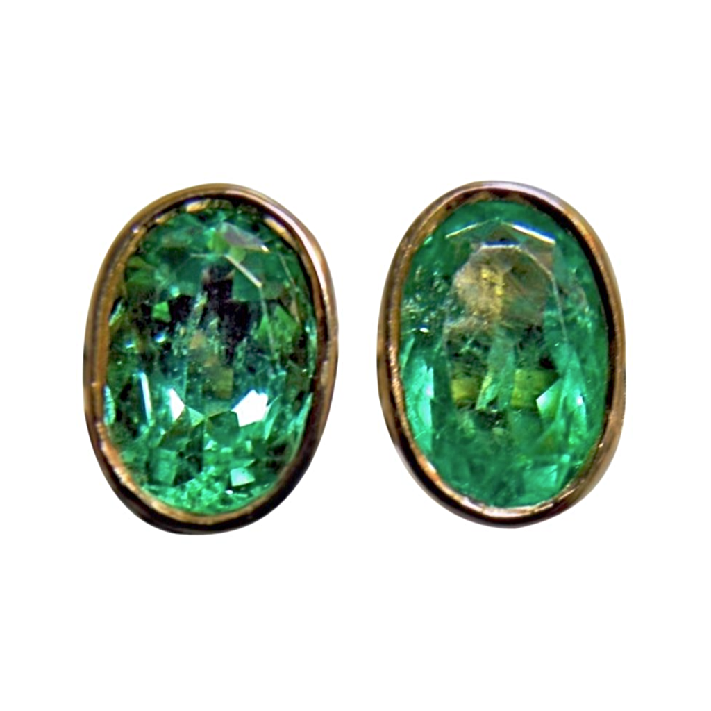 2.50ct Natural Colombian Emerald Oval Stud Earrings 18k Gold