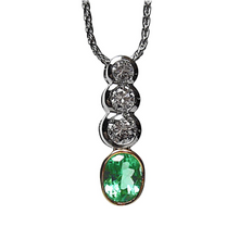 Load image into Gallery viewer, 1.50ct  Estate Colombian Emerald Diamond Pendant Necklace Platinum & 18k