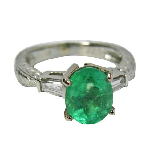 Estate 2.21cts Vintage Emerald Diamond Engagement Ring Platinum & 18K Gold