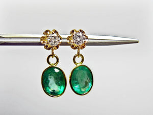 4.60ct Estate Natural Colombian Emerald & Diamond Dangle Earrings 18k Gold