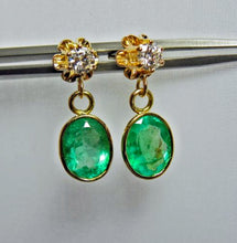Load image into Gallery viewer, 4.60 Carat Estate Colombian Emerald & Diamond Dangle Earrings 18K