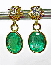 Load image into Gallery viewer, 4.60ct Estate Natural Colombian Emerald & Diamond Dangle Earrings 18k Gold
