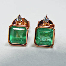Load image into Gallery viewer, 3.26ct AAA Natural Green Colombian Emerald Stud Earrings 18k Rose Gold