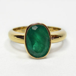 2.50 Carat Natural Colombian Emerald Solitaire Ring 18K Gold